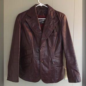VINTAGE Oxblood Genuine Leather Blazer Jacket